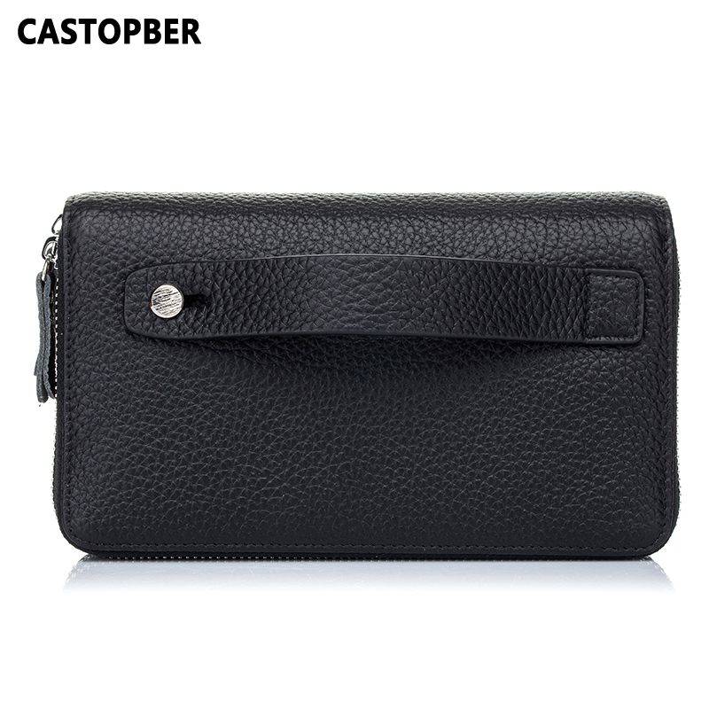 Crocodile Genuine Leather Double Zipper Wallet Mens Day Clutch Business Men Long Purse Cowhide Wallets High Quality Famous Brand