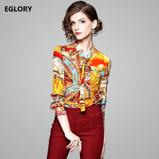 60ef66972f24e Silk Print Shirt Women s Blouses 2018 Spring High Quality Fashion Tops  Ladies Bow Tie Tunic Printed Long Sleeve Casual Blouse