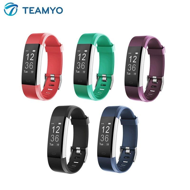 ID115 Plus deporte reloj inteligente Bluetooth recordatorio de llamada Fitness deporte rastreador pulsera Frecuencia Cardíaca reloj inteligente para ios android CARLYWET 22mm alta calidad 316L Acero inoxidable correa de reloj de plata correas para La Bahía Negra Tudor
