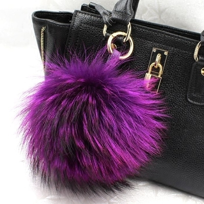 13 cm large puffs fox fur ball handbag charm tote accessories plush real fox fur keyring fuzzy big pompoms keychains purse charm