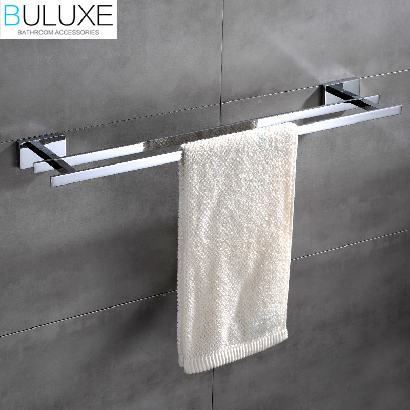 все цены на BULUXE Brass Bathroom Accessories Towel Bar Rack Holder Chrome Finished Wall Mounted Bath Acessorios de banheiro HP7762