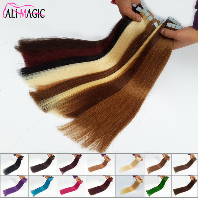 Tape In Human Hair Extensions Remy 20pieces Skin Weft Seamless Hair