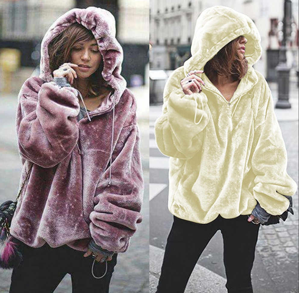 Oversized Hoodies Sweatshirt 2018 Winter Warm Long Sleeve Coats Women  Casual Ladies Coral Velvet Zip Hooded 302dc89d3