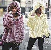 Oversized Hoodies Sweatshirt 2018 Winter Warm Long Sleeve Coats Women Casual Ladies Coral Velvet Zip Hooded Jumper Tops Pullover