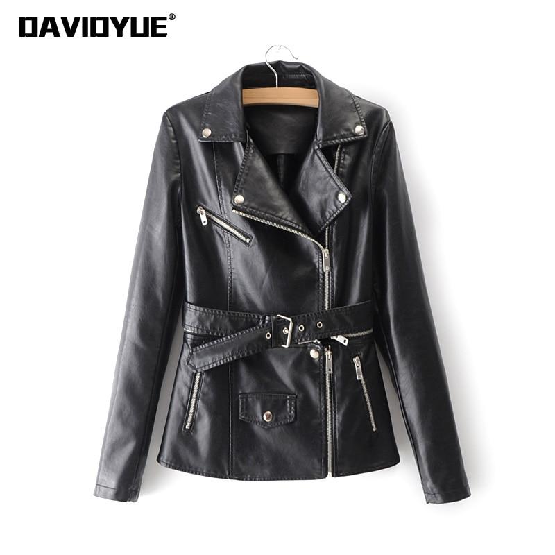 Automne ceintures Pu cuir veste femmes noir rose zipper moto manteau femme lâche poche Faux cuir Biker veste 2018