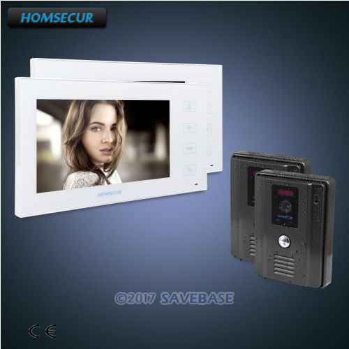HOMSECUR 7 Wired Video Door Entry Security Intercom with Black Camera 2C2M