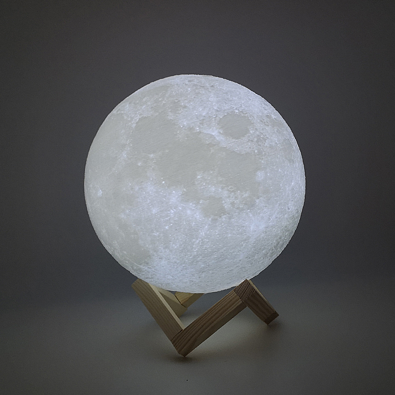 New Dropship 3D Print Moon Lamp 24cm 22cm 20cm 18cm 15cm  Colorful Change Touch USB Led Night Light Creative Gift