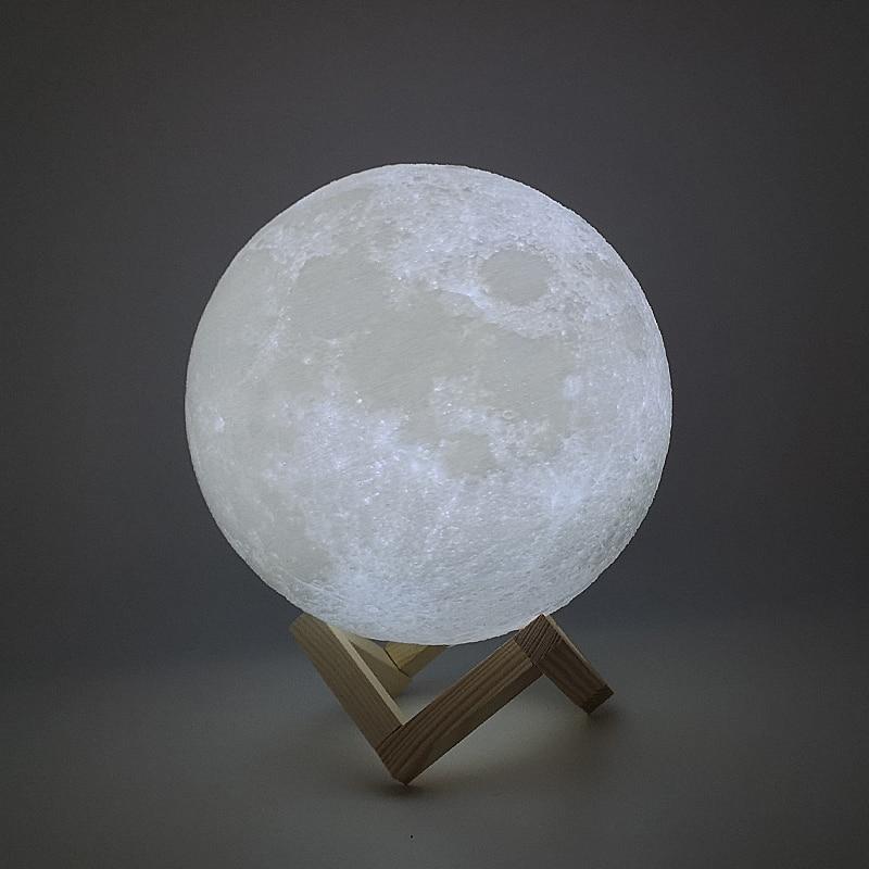 New Dropship 3D Print Moon Lamp 24cm 22cm 20cm 18cm 15cm  Colorful Change Touch USB Led Night Light Creative Gift