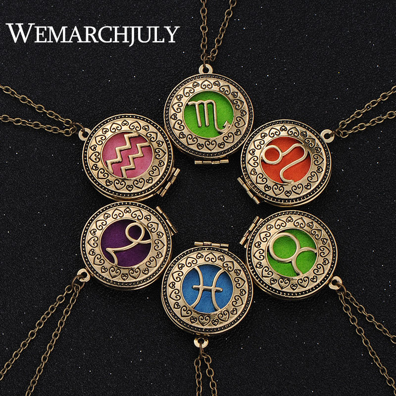 12 Constellations Jewelry with Bronze Plated Aries Zodiac Sign Locket Essential Oil Diffuser Aroma Long Necklace for Women