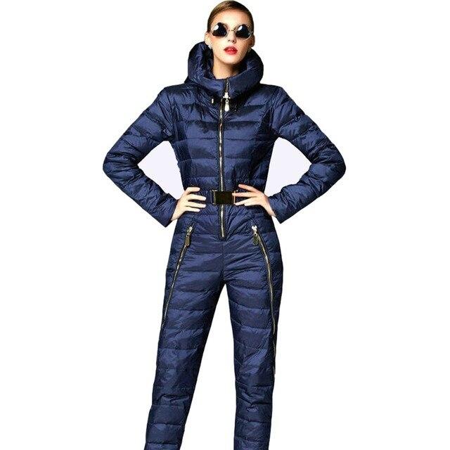 Super fashion! 2016 magros mulheres jaqueta de inverno parka pato para baixo casaco com capuz rompers womens jumpsuit femme doudoune skisuit casacos