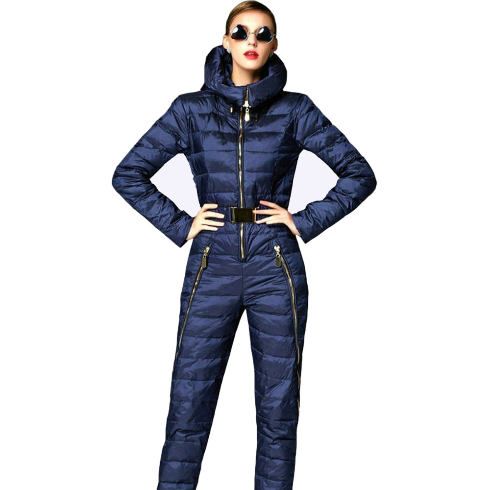Super fashion 2018 skinny winter jacket women parka duck down coat hooded skisuit rompers womens jumpsuit