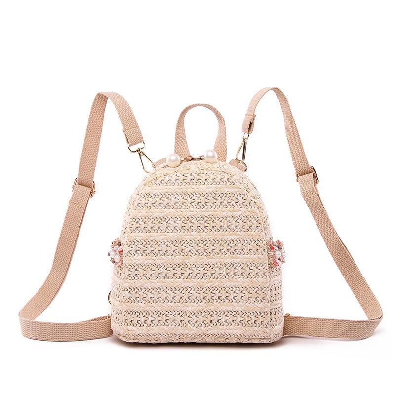 Fashion Women's Backpack Bohemian Straw Woven Beach Bag Teenage Girl Fashion School Bags Solid Casual Travel Backpack Feminina