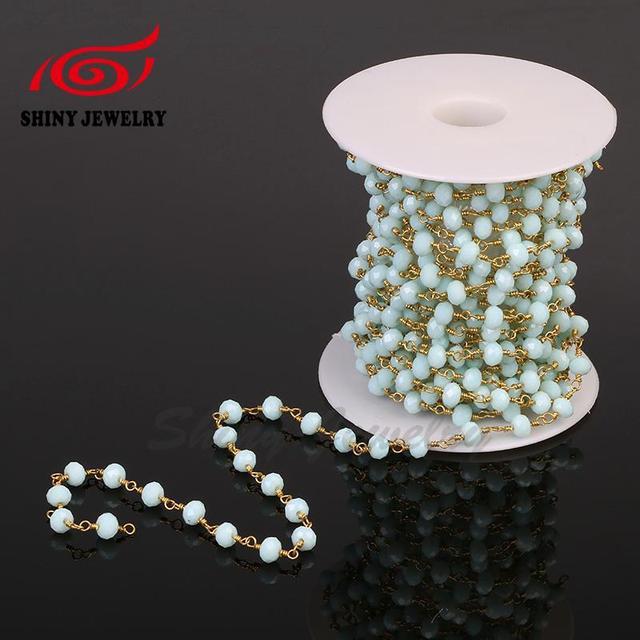 Neue Art! 4mm Draht Gewickelt Jade Kristall Perlen Ketten Vergoldung ...