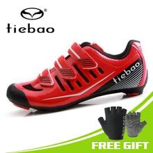 купить Tiebao Road Bike Shoes Breathable Mesh Upper Self-locking Cycling Shoes sapatilha ciclismo Athletic Racing Bicycle Shoes дешево