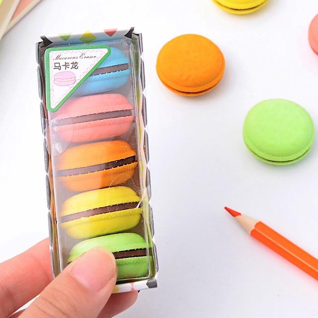 Creativo Macaron Eraser di Gomma Sveglio Kawaii di Colore Della Caramella Gomme di Cancelleria Per Ufficio Scuola Forniture Regalo per I Bambini 4