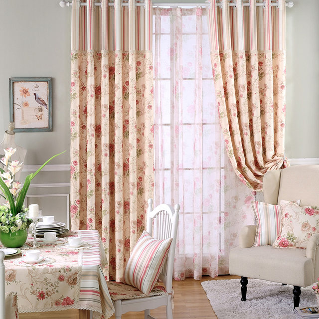 Blackout Curtains For Living Room Country Window Drapes Retro Lace Blind Fabric Floral Sheer New Panel