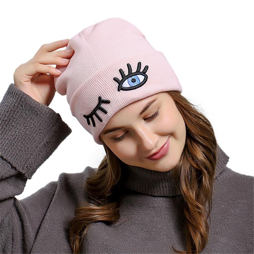 KLV Creative Top Grade Eye Embroidery Men WomenBaggy Wool Knit Ski Beanie Hat Stretchy Soft And