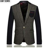 2017 New Arrivals Men S Suit Jackets Single Botton Slim Fit Wool Stitching Business Blazers Male