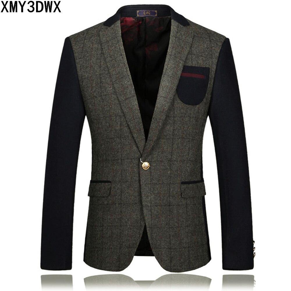 2017 nuevas llegadas de los hombres chaquetas de traje individual botton slim fit costura lana negocio