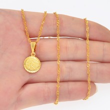 Anniyo SMALL Charm Pendant and Wave Chains for Women Girls Gold Color Mini Metal Coin Pendant Jewelry Gifts #171506