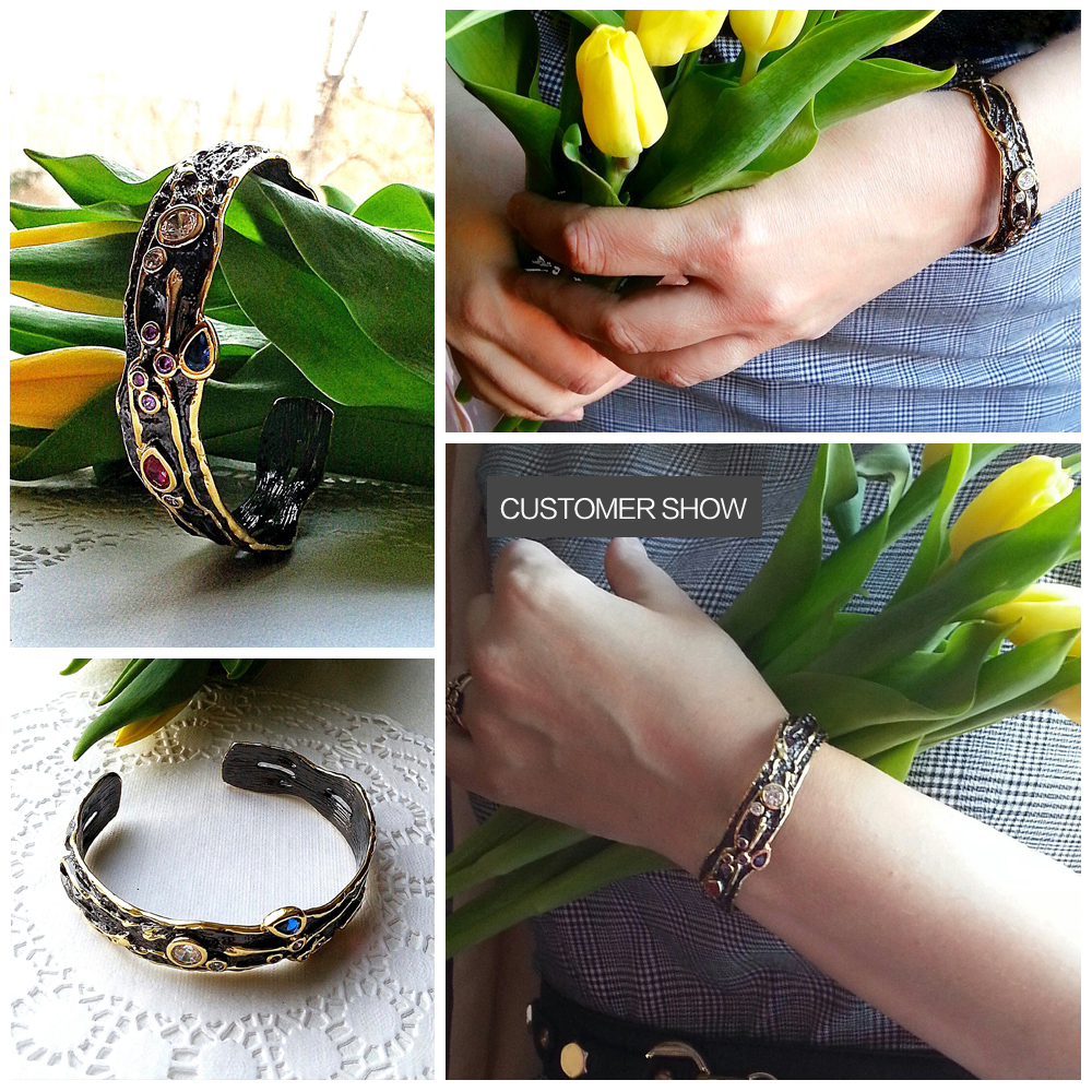 DreamCarnival 1989 Wholesale Drop Ship Neo Gothic Open End Black Gold Muti Color Zircon Bangle Mulheres bayan bileklik BAN01