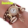 Irisshine i0243 Mujeres Relojes Correa De Cuero Trenzado de Acero Inoxidable de Las Mujeres de señora Girl Fashion Pulsera de Cuarzo Reloj de Pulsera de regalo