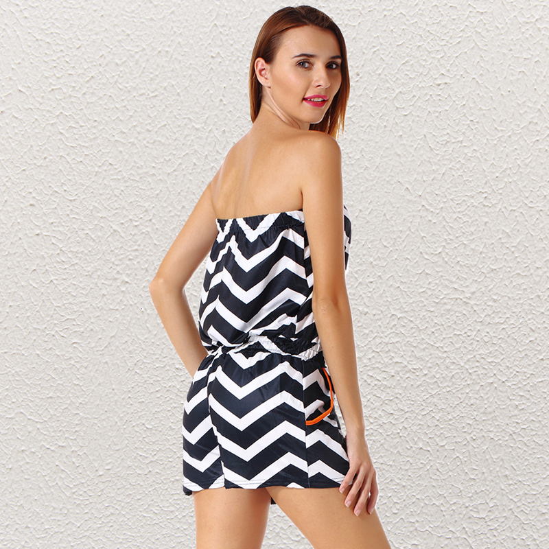 3bb8424fb5367 LELINTA Sexy Wave Stripe Backless Strapless Summer Style Beach Rompers Women  Jumpsuit Ladies Women Playsuit Knot Black Romper-in Rompers from Women s ...