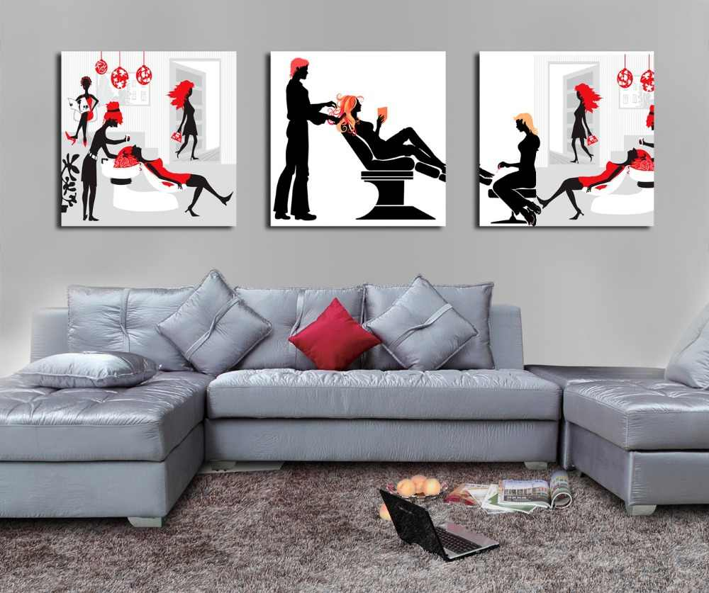 Black and Red Hair Salon fashion lady Painting on Canvas Print Art Poster Wall Decor Barber shop Wall Pictures Drop shipping