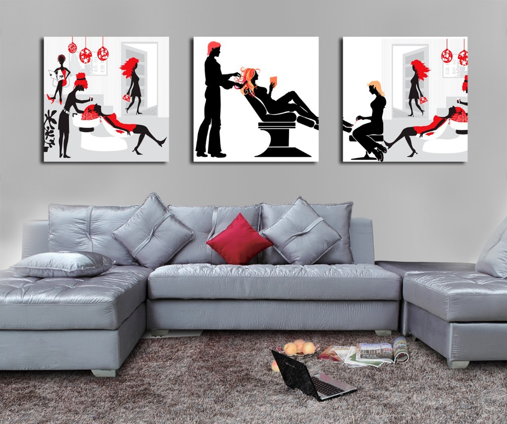 US $17.17 Black and Red Hair Salon fashion lady Painting on Canvas Print  Art Poster Wall Decor Barber shop Wall Pictures Drop shippingpaintings on