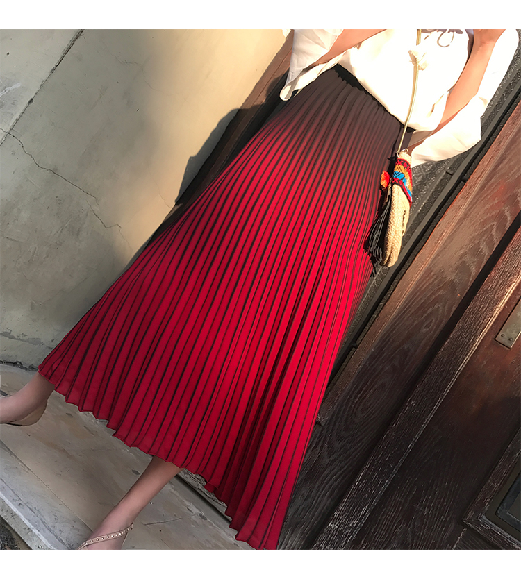 FREE SHIPPIN fashion three-color elastic waist pleated skirt bust skirt on holiday wind full skirt IN STOCK
