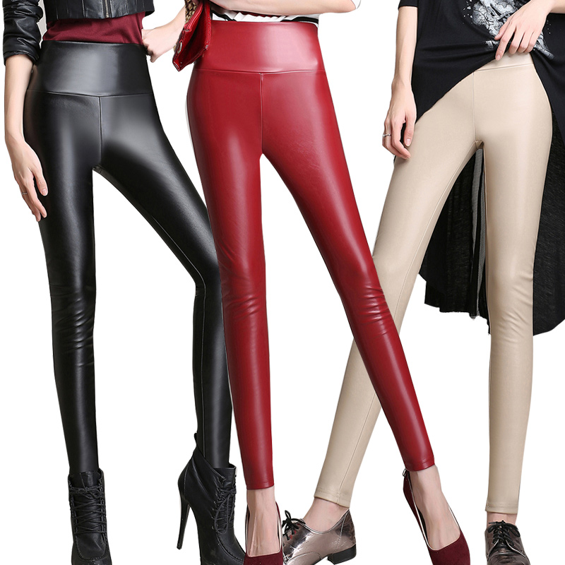 Winter PU leather women pants plus size fashion Faux Leather slim warm pencil pants women black high waist leggings trousers