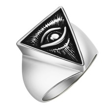Valily jewelry Mens ring Egyptian Eye of Horus Ra Udjat gold color stainless steel Punk Illuminati pyramid Ring For Men