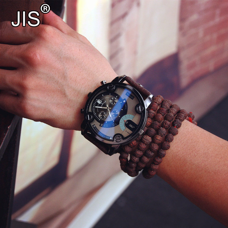 JIS Brand Blue Glass Big Dial Black Leather Quartz Men Watches Fashion Casual Watch Sports Out Door Military Wristwatch relojio