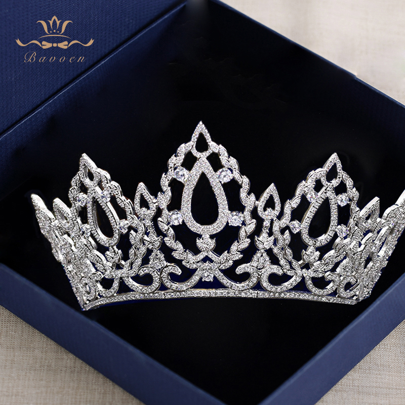 цена Top Quality Oversize Royal Queen Prom Hairbands Silver Brides Tiaras Crowns Full Zircon Crystal Wedding Hair Accessories