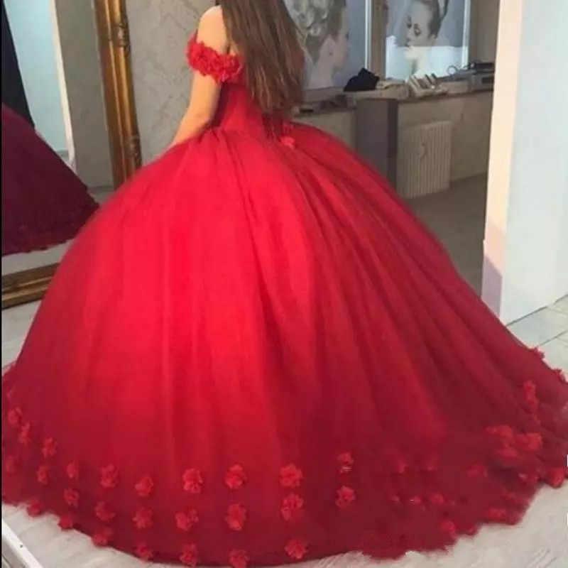 JaneVini элегантное красное платье Quinceanera 2019 Милая Длинные Выпускные вечерние цветы ручной работы большие Размеры бальное платье quincera платья