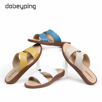 2017 Casual Women's Sandals Real Cow Leather Flats Shoes Women Slip-On Summer Female Slides Leisure Beach Flip Flops Size 35-41 2