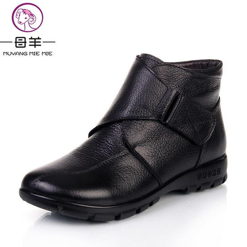 Sapatos de Inverno Mulher de Couro Botas de Neve Botas de Tornozelo Sapatos de Mãe Muyang Marcas Chinesas Genuíno Plana Casuais Mulheres Quentes Botas Femininas