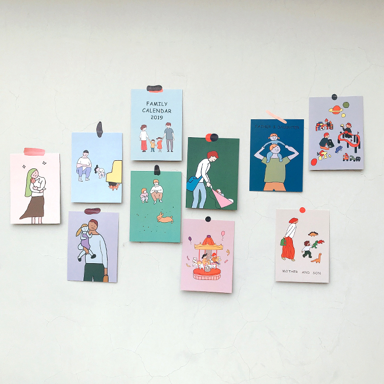 SIXONE INS 10 Sheet Warm Family Card Double-sided Graph Wall Decoration Poster Cartoon Korea Photo Props Decorative Sticker