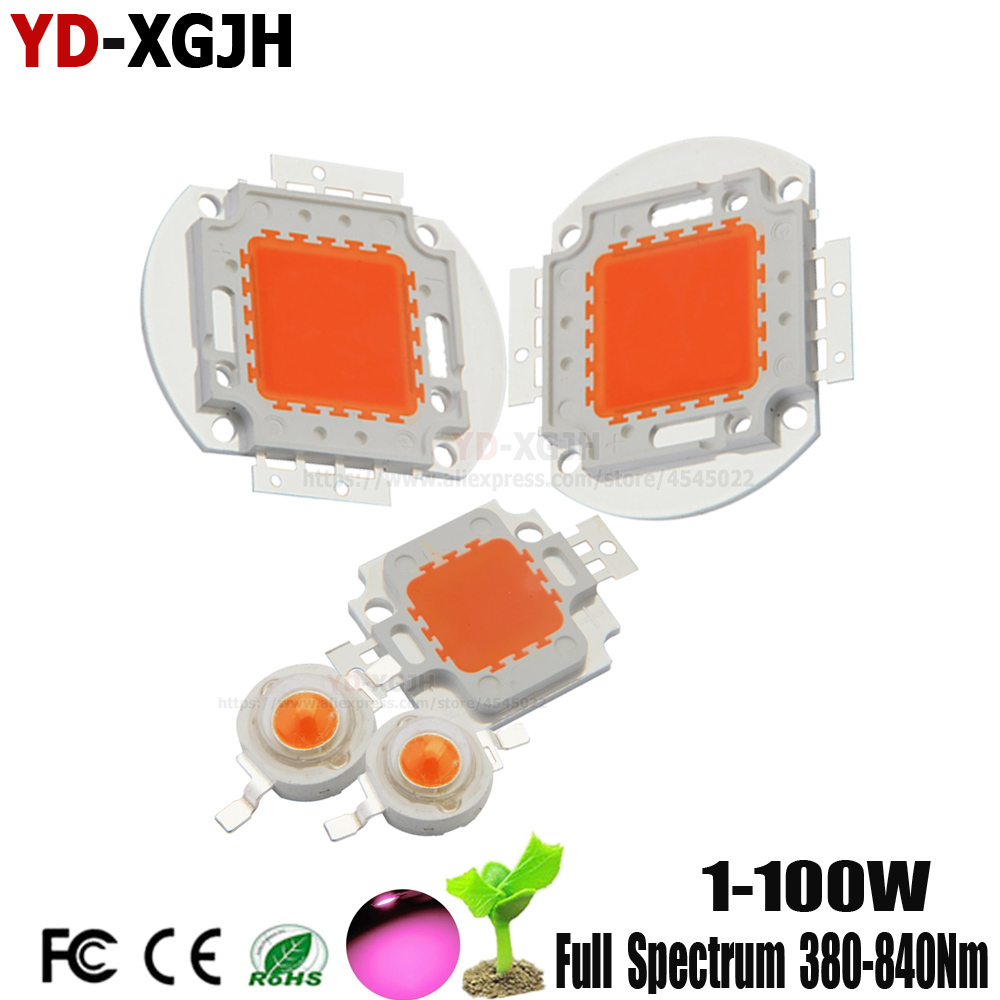 High Power LED Chip Full Spectrum 380-840Nm 1W 3W 5W 10W 20W 30W 50W 100W DIY LED Grow Light For Vegetable Fruit Plant Growing