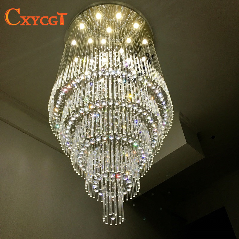 Modern Crystal Chandelier for Stair Staircase Light Fixture Long Crystal Lamp for Living Room Bedroom Hotel Lamp
