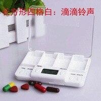 Intelligence Médecine Calendrier Boîte Pilule Cas Contenant de L'électronique Tablet Cas De Stockage Circulaire Rappel D'alarme 4 Grille