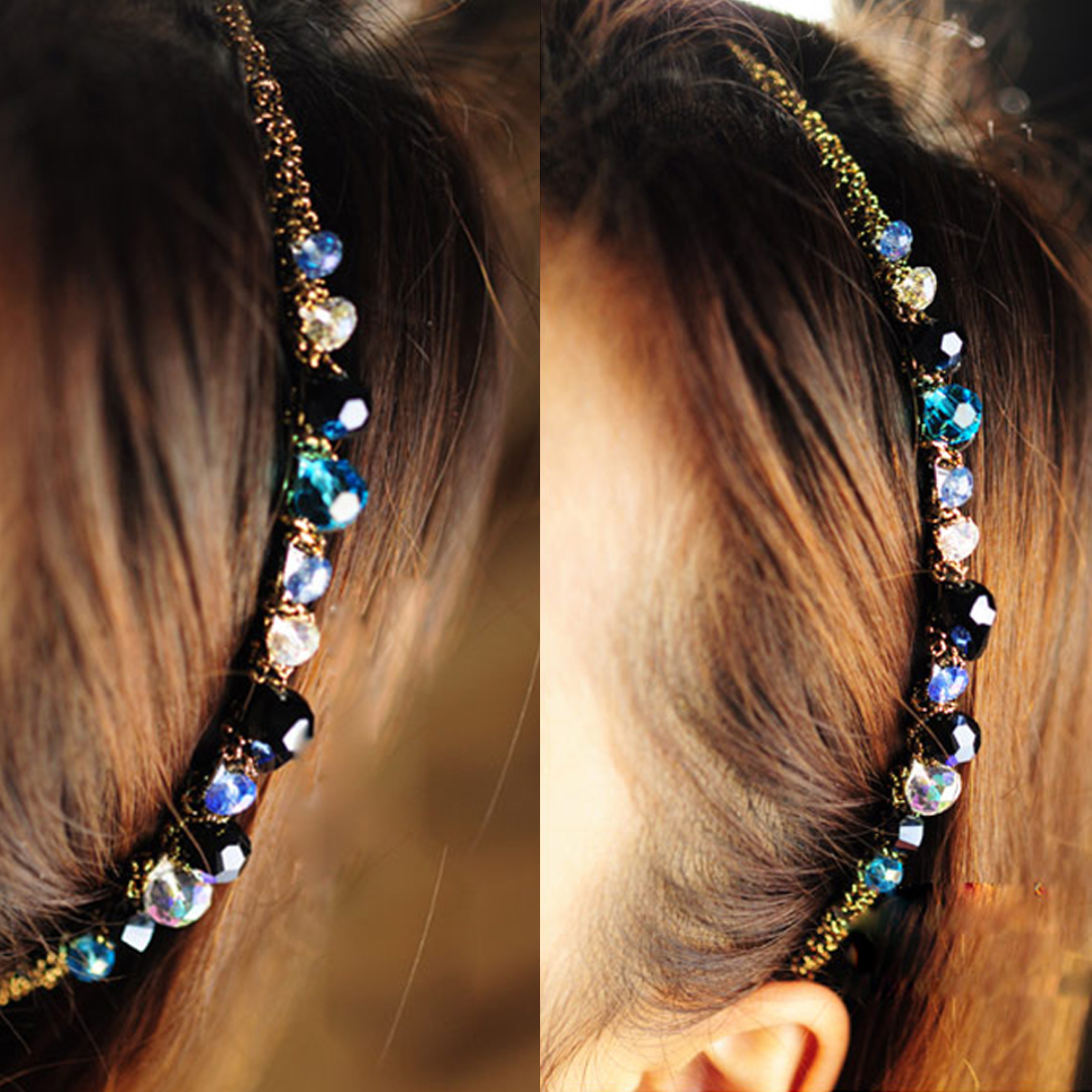 Full Rhinestone AB Diamond Flower Women Shining Alice Band Headband Hairband