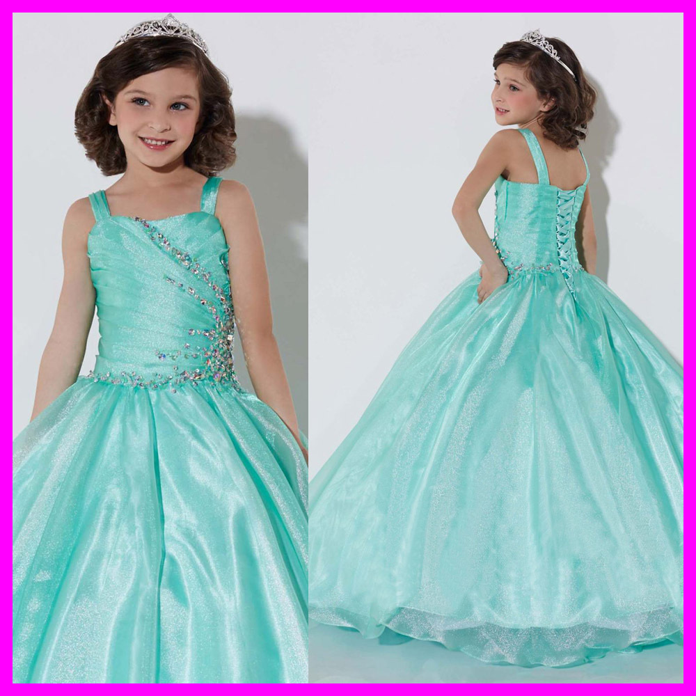 Winsome Turquoise Ball Gown Party   Dresses   For Weddings Lovely   Flower     Girl     Dresses     Girls   Pageant   Dresses   2015 Beading FH-1