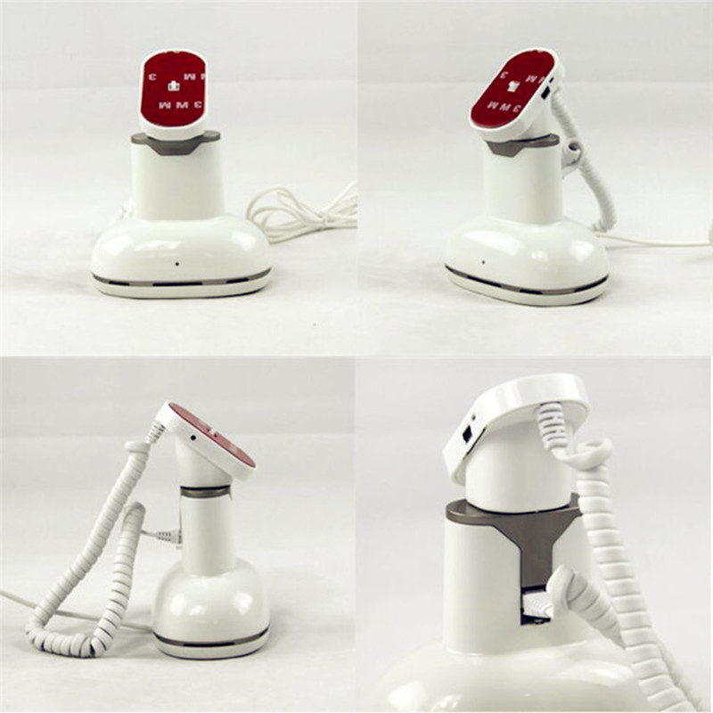 cell phone holder kits in retail display changing and alarm function white color abs material
