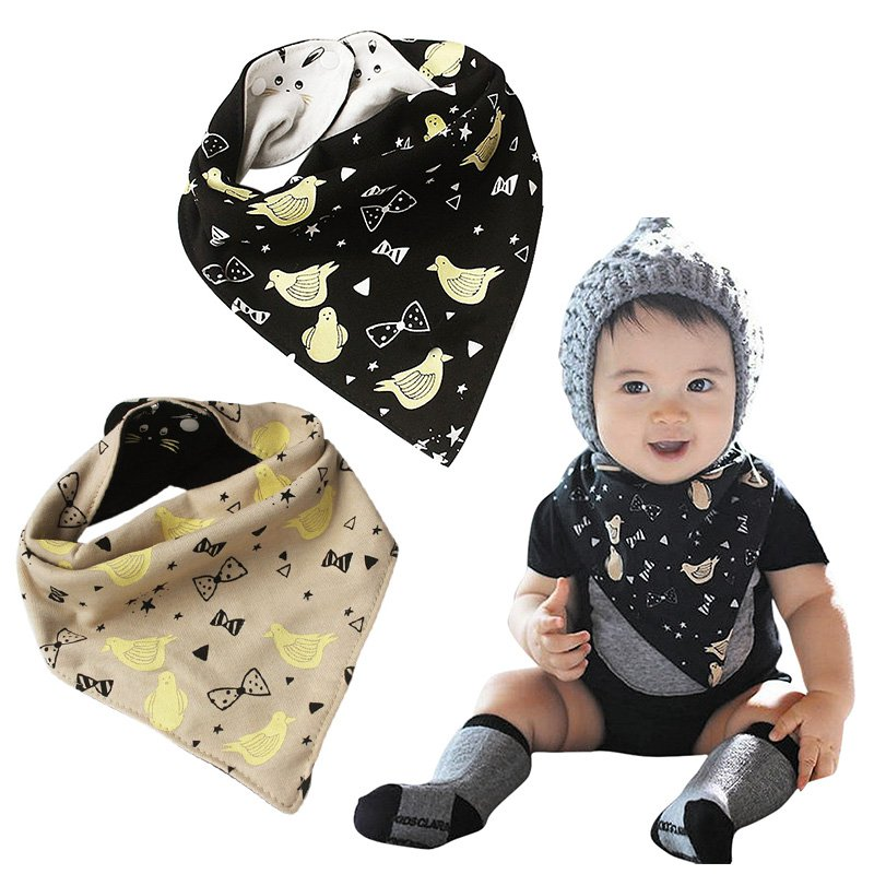 Dual-side Use Baby Bird Bow Rabbit Pattern Feeding Bib Kids Toddler Soft Cotton Burp Cloths Infant Triangle Scarf Saliva Towel ...