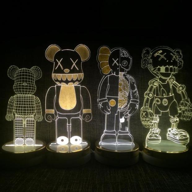 Быть @ rbrick свет ночника 3D power bank дома bape Акула фигурку игрушки Bearbrick Kaws companion расчлененный 400% 28-32 см
