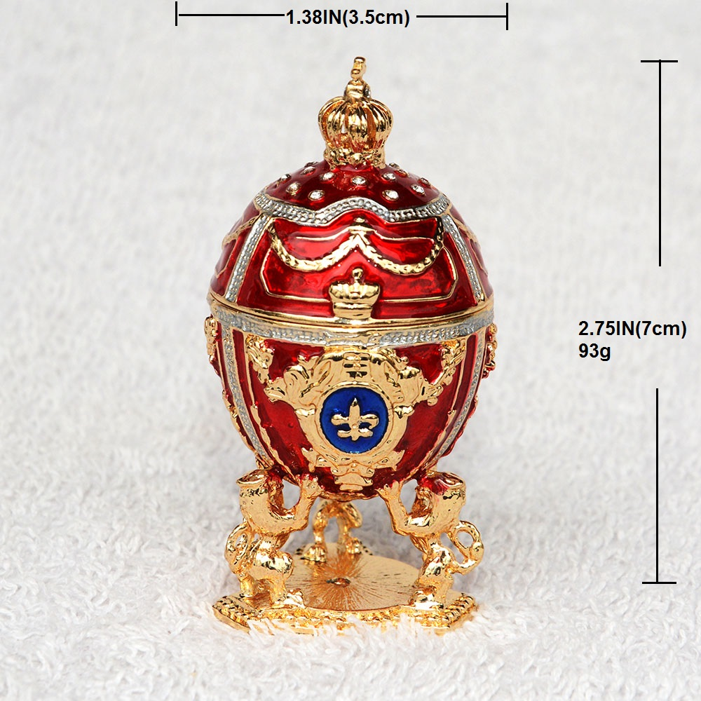 New arrival Russian faberge egg w lion jewelry box Easter egg bejeweled  trinket box metal Gift for Her Christmas gifts-in Jewelry Packaging    Display from ... af423ff7e3be