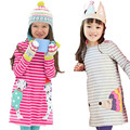 2016 Spring and Autumn Fashion Girls Dress Kids Cotton Striped Clothes Children Long Sleeve Cartoon animal Dresses for 1-7 Years