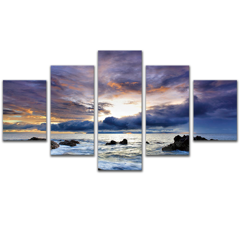 Unframed Canvas Painting Cloudy Sunlight Sea Reef Photo Picture Prints Wall Picture For Living Room Wall Art Decoration