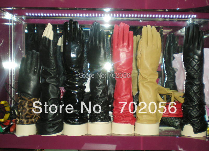 2018 Charming LONG Kid Leather OPERA Gloves Evening Gloves  LEATHER GLOVES Womens SUPER HIGH QALITY Mixed 12 Pairs/lot #3340